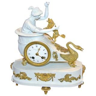 Empire Bisque & Bronze Mantel Clock