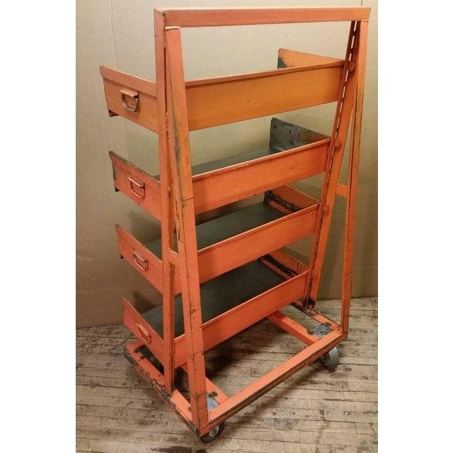 Metal Factory Storage Bookcase Or Bookshelf Cart Orange And Steel A Frame On Wheels