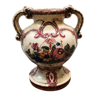 1930s Italian Art Deco Ceramic Floral Motif Double Handled Vase For Sale