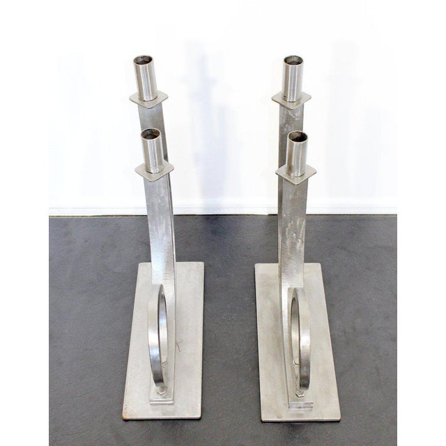 Mid-Century Modern Sculptural Aluminum Candleholders Studio Artist Haghiri - a Pair For Sale - Image 11 of 12