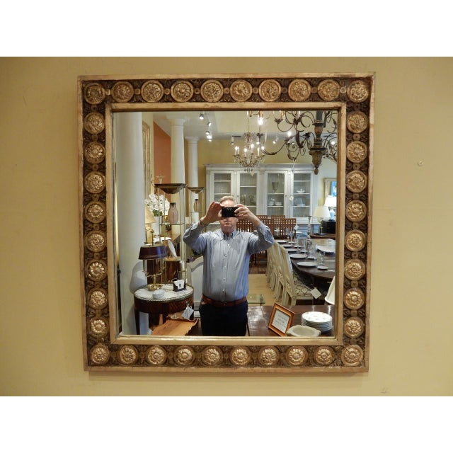 Italian gold leaf frame wall mirror. Circa early 19th century. Restored not to affect aged patina.