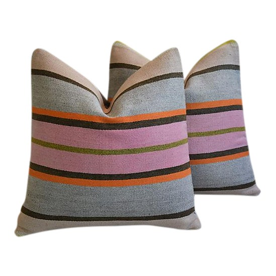 "20"" Custom Tailored Anatolian Turkish Kilim Wool Feather/Down Pillows - a Pair - Image 1 of 11"