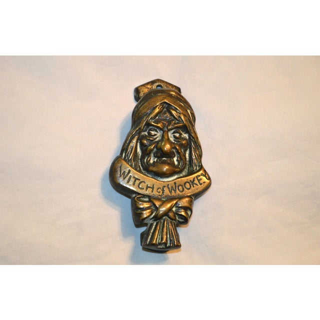 English Traditional Witch 1927 Bronze Door Knocker For Sale - Image 3 of 9