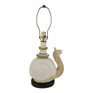 Palm Beach Style Vintage Paul Hanson Majolica Snail Table Lamp