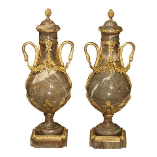 Pair of Circa 1860 Gilt Bronze and Marble Cassolettes from France For Sale