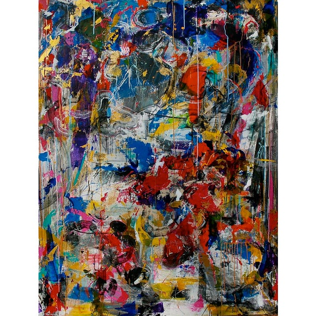 """Abstract Expressionism Contemporary Abstract Painting """"Secrets Are Hard to Keep"""" by Joseph Conrad-Ferm For Sale - Image 3 of 3"""