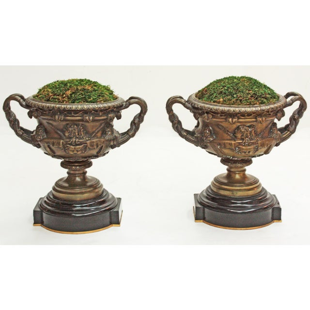 Bronze Pair of Grand Tour Urns / Warwick Cups For Sale - Image 7 of 7