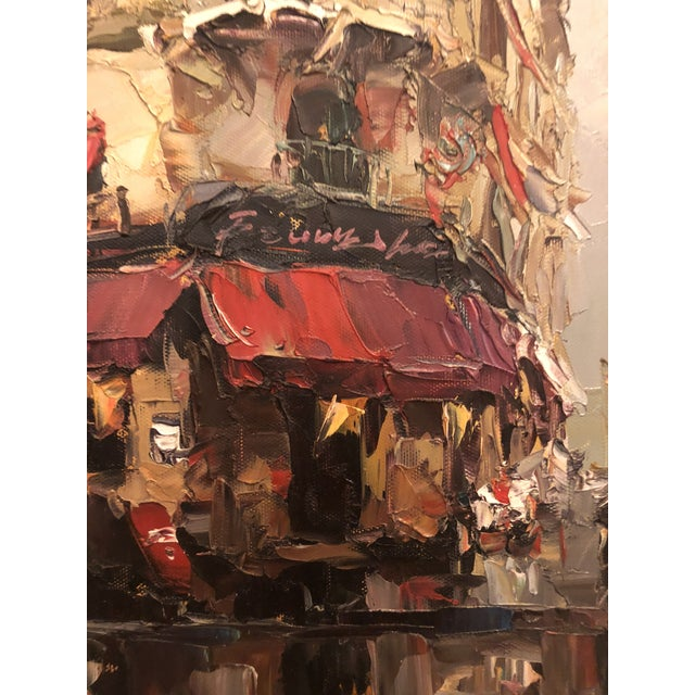 Contemporary 1980s Store Front Street Scene Framed Oil on Canvas Painting For Sale - Image 3 of 8