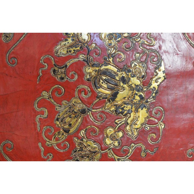 Black Chinese Embossed Leather Cushions For Sale - Image 8 of 11
