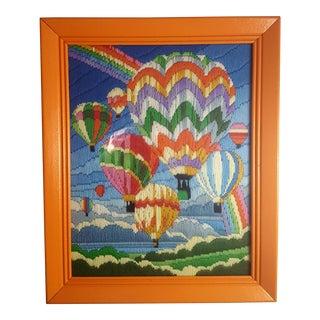 Mid Century Hot Air Balloon Crewel Needlepoint Framed Art