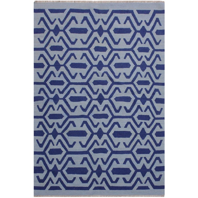 Contemporary Kilim Sager Blue Hand-Woven Wool Rug- 4′4″ × 5′9″ For Sale
