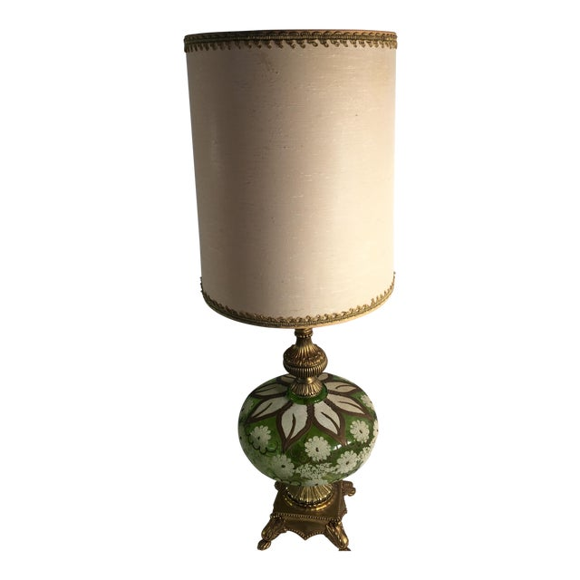 Hollywood Regency Gold & Green Glass Floral Table Lamp - Image 1 of 11