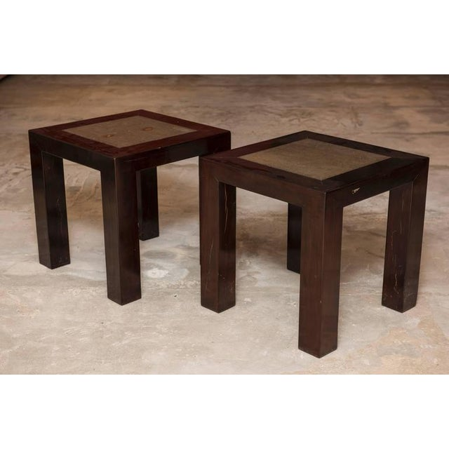 Ebonized wood, could be used as side tables or coffee tables.