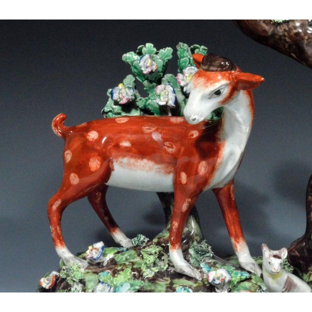 English Traditional Staffordshire Pearlware Large & Rare Double Deer Figure Spill Vase Group For Sale - Image 3 of 7