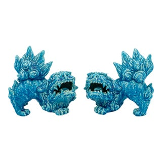Handmade Turquoise Glazed Clay Foo Dogs - a Pair For Sale