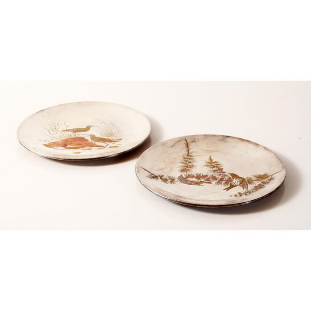 Fabulous vintage c.1940's/50's silver plated mixed metal decorative plates with stunning etched Audubon scenes of shore...