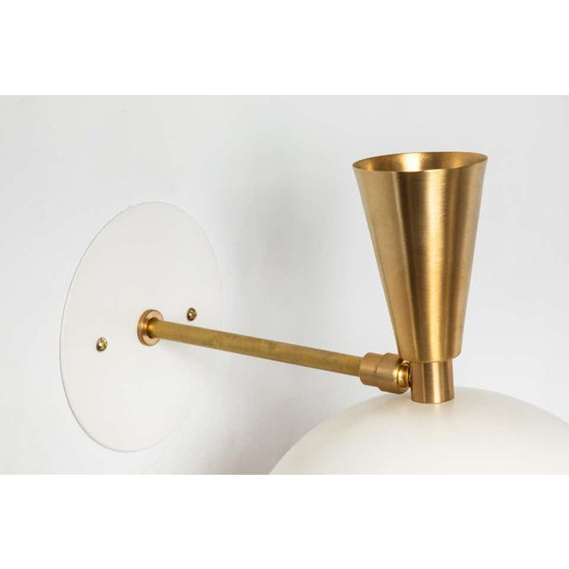 'Lola Ii' Sconces in White Metal and Brass - a Pair For Sale - Image 11 of 13