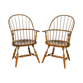 Duckloe Loop Back Windsor Arm Chairs - A Pair For Sale