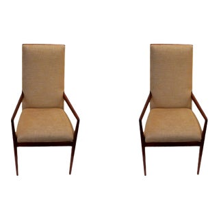 Upholstered Mid-Century Teak Armchairs - a Pair For Sale