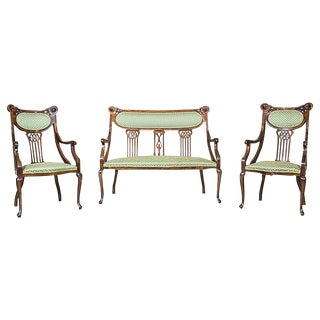 Art Nouveau Parlor Seating Circa 1910 - Set of 3 For Sale