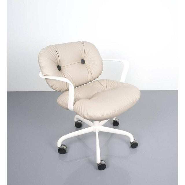 Animal Skin Andrew Morrison and Bruce Hannah for Knoll Office Chair Beige Leather, 1975 For Sale - Image 7 of 8