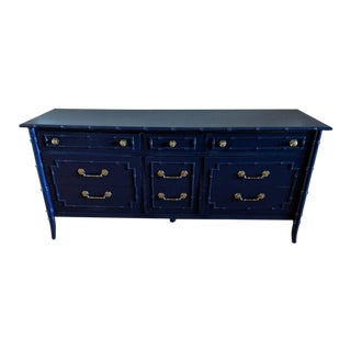 1970s Chinoiserie Thomasville Allegro Faux Bamboo High Gloss Blue 9-Drawer Dresser For Sale