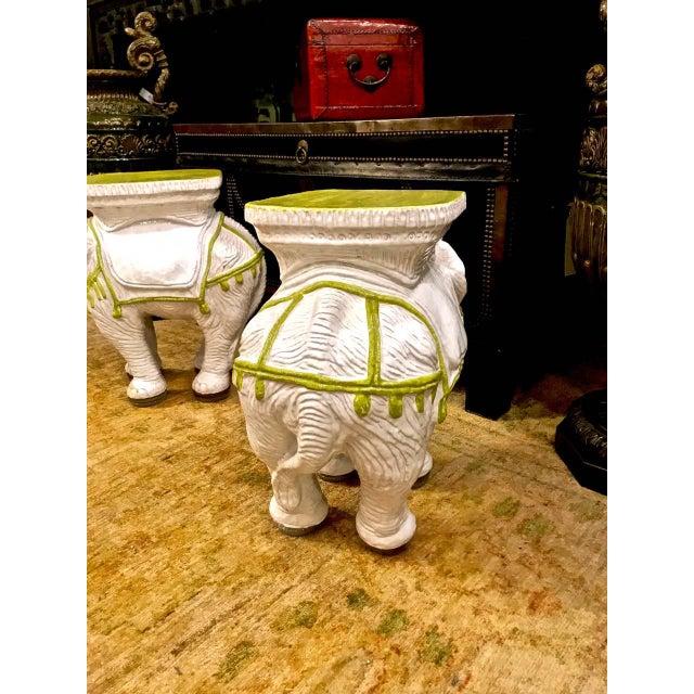 Italian Pair Italian Ceramic Chinoiserie Elephant Garden Stools or Tables For Sale - Image 3 of 9