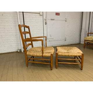 Vintage Mid Century Brunschwig & Fils French Country Arm Chairs and Ottoman Preview
