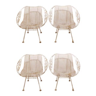 1950's Vintage Russell Woodard Wrought Iron Garden Armchairs- Set of 4 For Sale