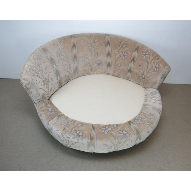 Tan 1970s Milo Baughman Style Large Round Chaise Lounge Chair on Walnut Legs For Sale - Image 8 of 13