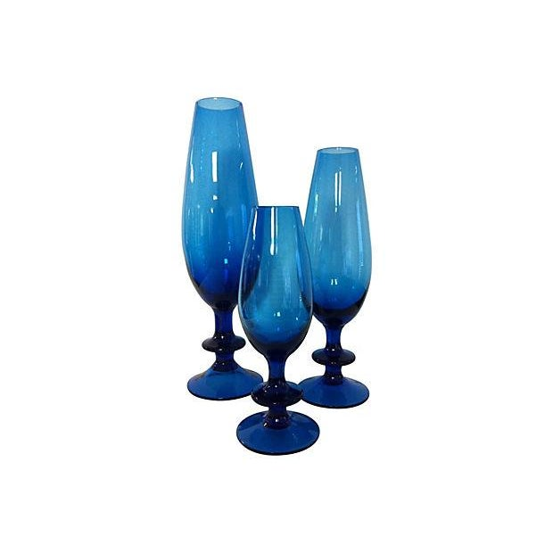 Carlo Moretti Blue Glass Goblets - Set of 3 - Image 1 of 3