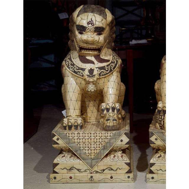 Pair of Palace Sized Bone Foo Dogs Sculptures For Sale - Image 4 of 11