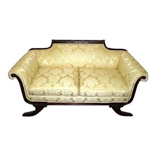 Empire Style Mahogany & Damask Settee For Sale