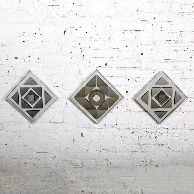 Pop Art Op Art Geometric Trio of Framed Mirror Wall Sculptures by Hal Bienenfeld For Sale - Image 13 of 13