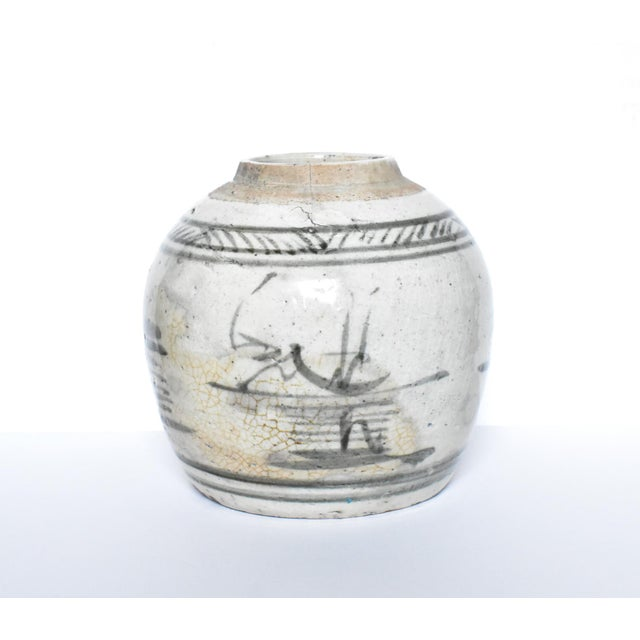 Antique C. 1840 Chinese Canton Blue & White Ginger Jar For Sale - Image 4 of 13