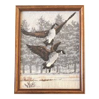 Original Vintage Geese Flying in Snow Needlepoint Framed Picture 1980's For Sale