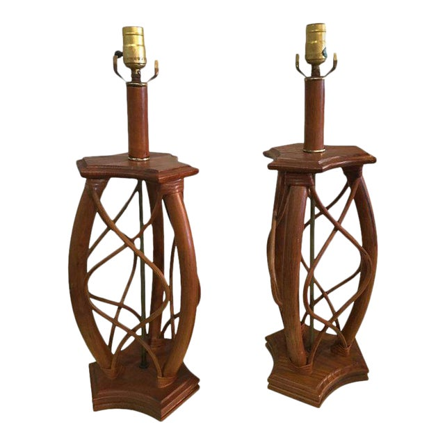 Vintage Mid-Century Modern Rattan Table Lamps - a Pair - Image 1 of 12