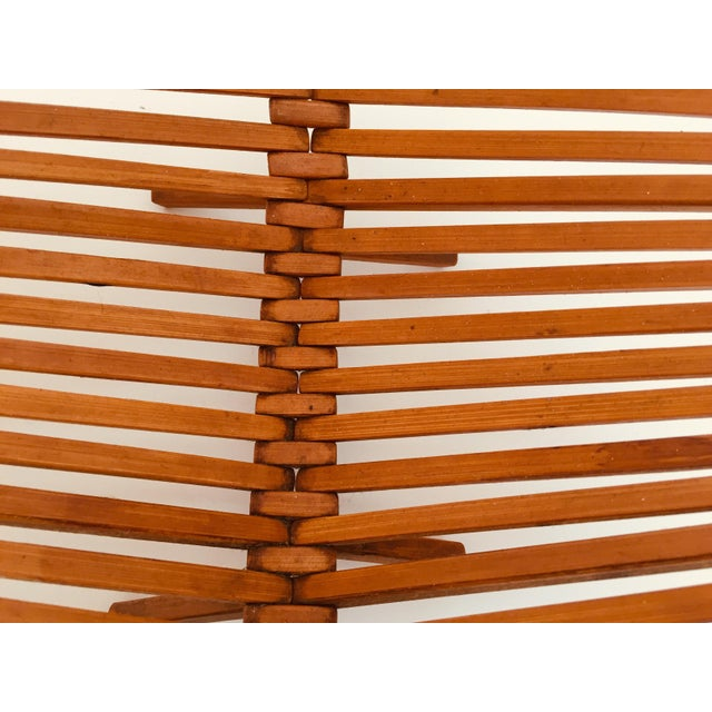 Japanese Mid Century Folding Bamboo Basket With Handle For Sale - Image 11 of 12