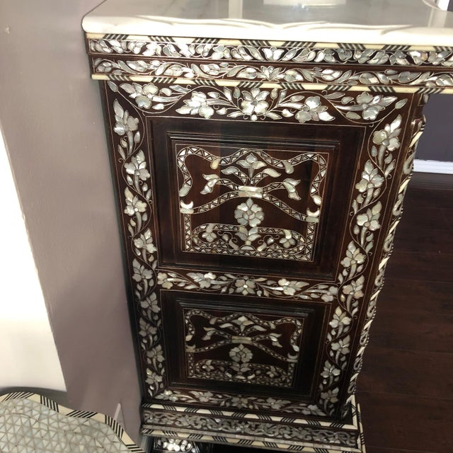 Moorish Syrian Mother of Pearl Inlay Chest With Drawers For Sale In Los Angeles - Image 6 of 11