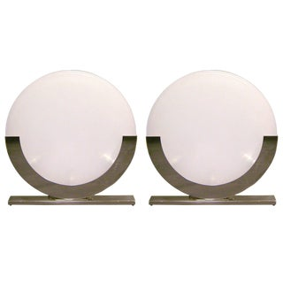1990 Minimalist Italian White and Chrome Round Table Lamps - a Pair For Sale