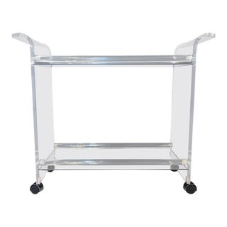 Hollywood Regency Style Two Tier Lucite & Mirrored Shelf Rolling Bar Cart