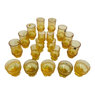 Vintage Franciscan Canary-Yellow Brutalist Glasses- 19 Pieces For Sale