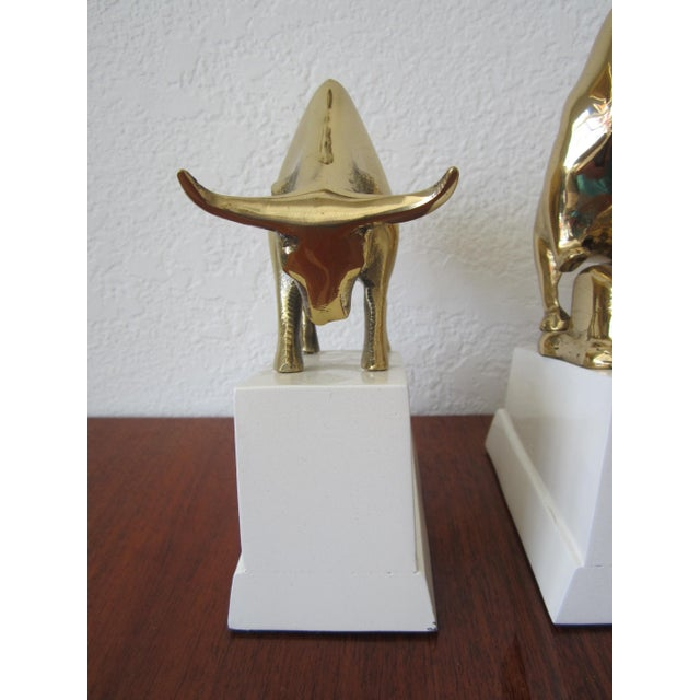 Polished Brass Bull and Standing Bear Bookends on Lacquered Blocks For Sale In Miami - Image 6 of 7