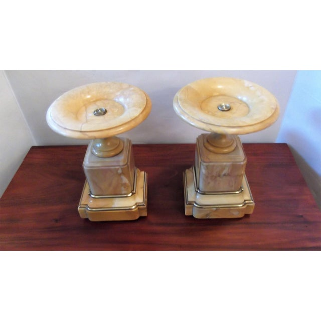 Antique French Sienna Marble Garniture Tazza Compotes - A Pair For Sale In Philadelphia - Image 6 of 9