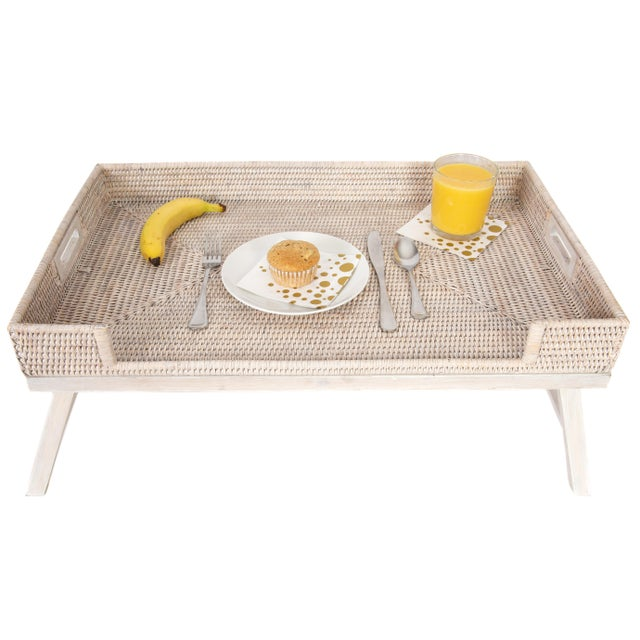 2020s Artifacts Rattan Breakfast Tray/Table - White Wash For Sale - Image 5 of 6