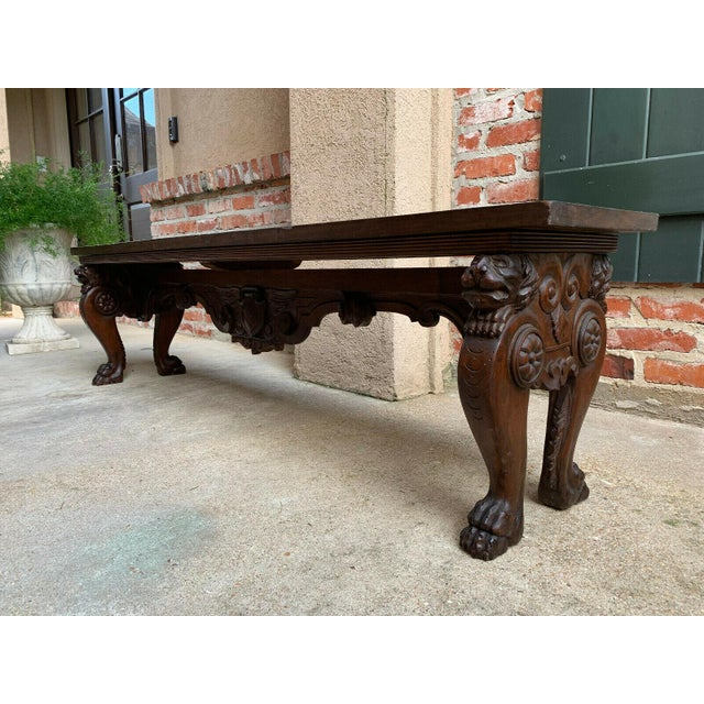 1900s Antique Italian Carved Walnut Renaissance Revival Bench Ottoman For Sale - Image 9 of 13