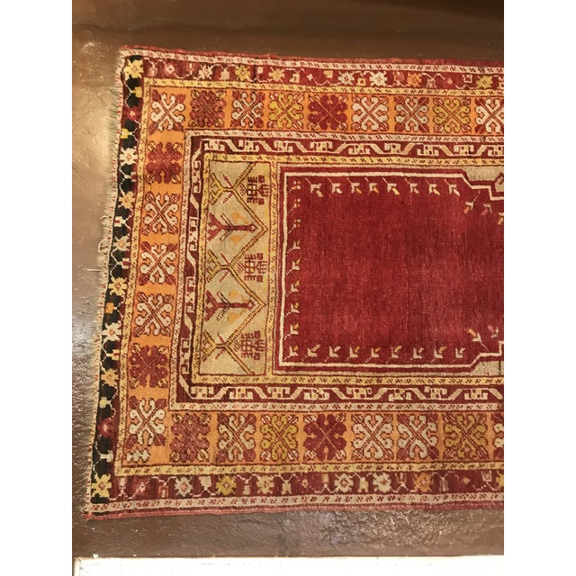 Islamic Antique Wool Prayer Rug For Sale - Image 3 of 4