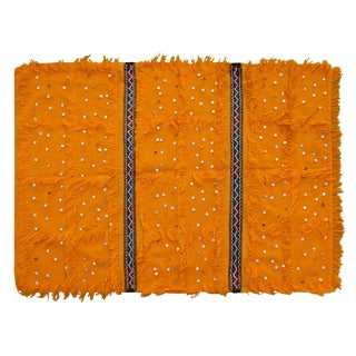 Moroccan Handira W/ Orange & Stripes For Sale