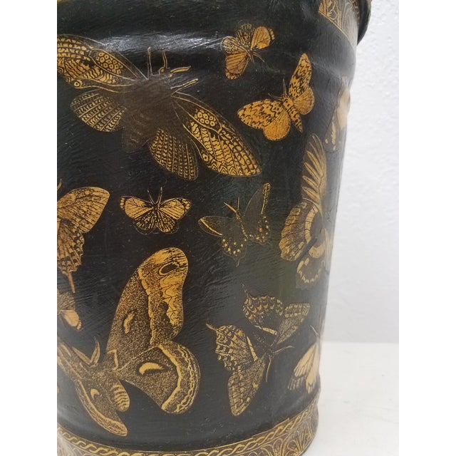 English Antique Bucket / Pail With Decoupage Butterflies - Found in Southern England For Sale In Dallas - Image 6 of 11