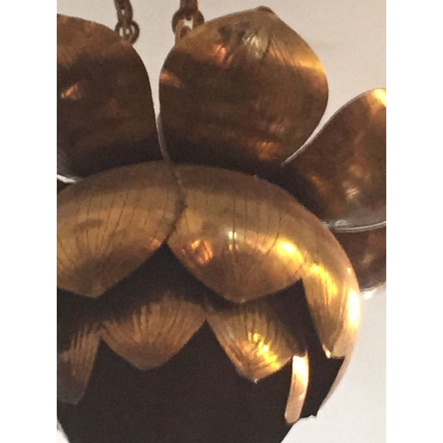 Feldman Three-Light Lotus Brass Chandelier For Sale In Sacramento - Image 6 of 11
